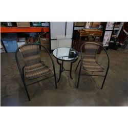 BISTRO SET WITH MIRRORED TABEL AND 2 WICKER CHAIRS