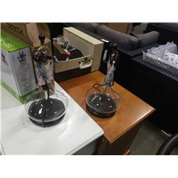 PAIR OF MODERN GLASS TABLE LAMPS