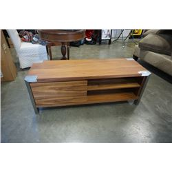 MODERN 1 DRAWER TV STAND WITH BRUSHED METAL ACCENTS