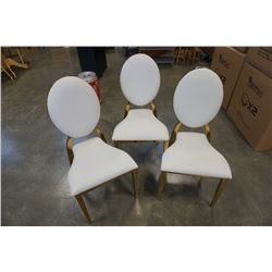 3 BRASS CHAIRS WITH LEATHER LOOK CUSHIONS