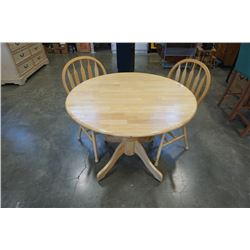 MAPLE DROPLEAF DINING TABLE AND 2 HOOPBACK CHAIRS