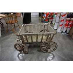VITNAGE WOOD WAGON WITH METAL RIMMED WHEELS