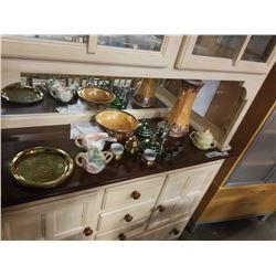 Art glass vase, Victorian dresseer set, lidded sugar bowl, silver plate napkin rings, SP baby tumble