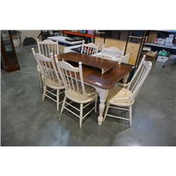 WOOD DINING TABLE WITH LEAF AND 6 CHAIRS