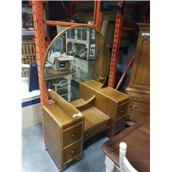 ANTIQUE VANITY WITH MIRROR - MIRROR APPROX 46 INCHES ACROSS