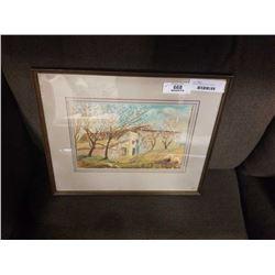 "Joan Mont pastel and acrylic ""Spanish Farmhouse"""