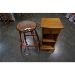 WOOD 1 DRAWER SIDE TABLE AND STOOL