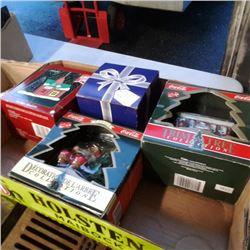 Box of Cocacola and english christmas ornaments