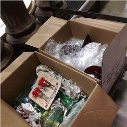 2 boxes of stemware, oil lamp bases, salt n pepper shakers and flute