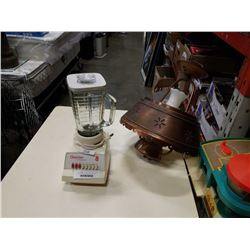 COPPER AND GLASS ELECTRIC LAMP AND OSTERIZER BLENDER