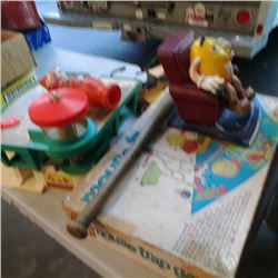 Lot of fisher price, M&M dispensor, Vintage mouse trap game and tonka