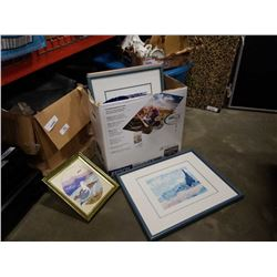 BOX OF WATERCOLOR AND NEEDLEPOINT PICTURES