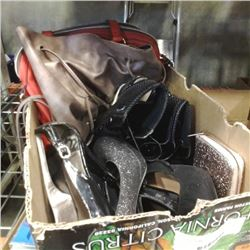 BOX OF LADIES SHOES AND PURSES - SIZE 7 AND 8