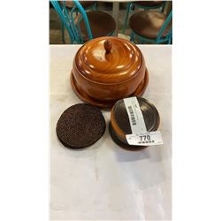 Wooden lidded bowl and coasters