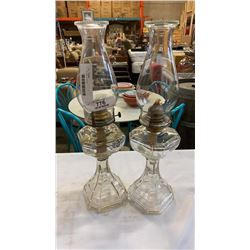"""2 - 19"""" glass oil lamps"""