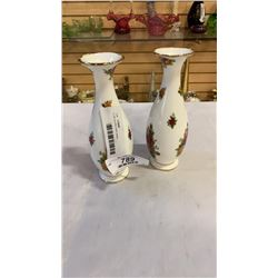 2 old country rose vases
