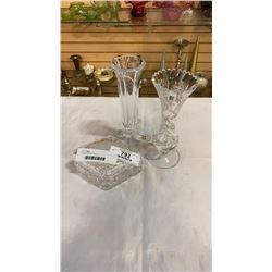 2 crystal vases and lidded jar