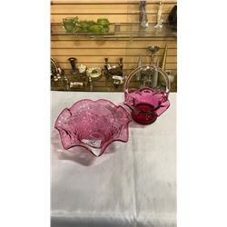 Pink art glass bowl and basket