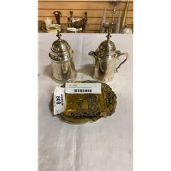 Plated brass cream and sugar set with 2 moulded dishes