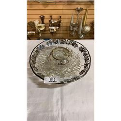 Silver etched dish and bowl