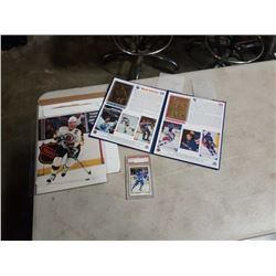 Gretzky gold foil carrer cards, joe sakic graded card and ray bourque 8x10
