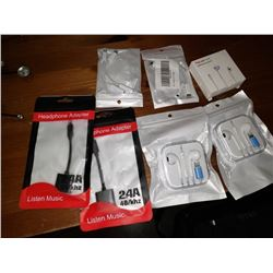 LOT OF NEW IPHONE LIGHTNING EARPODS AND ADAPTERS