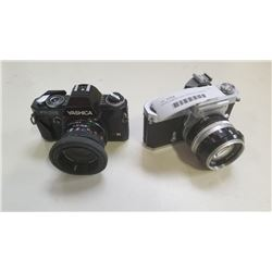 NIKON CAMERA WITH 50MM 1.4 LENS AND YASHICA CAMERA  WITH LENS
