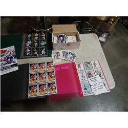 3 BINDERS AND BOX OF VARIOUS SPORTS CARDS