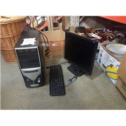 DESKTOP COMPUTER WITH WINDOWS 7, 3GB RAM, 500GB HDD AND MONITOR AND KEYBOARD