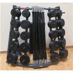 Threaded Barbell Bars, Ring Collars, Weights and Rack