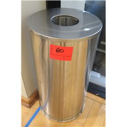 Brushed Metal Cylindrical Waste Receptable