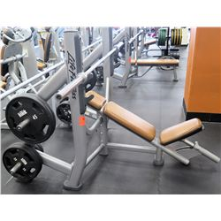 Life Fitness Bench w/ Barbell & Weights Shown in Photos