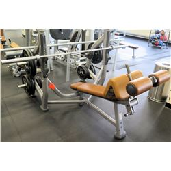 Life Fitness Bench w/ 1 Barbell & Weights Shown in Photos