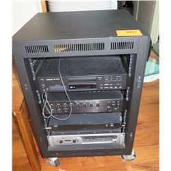 Sound System XLS1500 Amp, TOA Amp, Tascam CD Player, Furman Power Unit in Rolling Cabinet