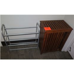 Slatted Wooden Towel Bin & Metal Rack