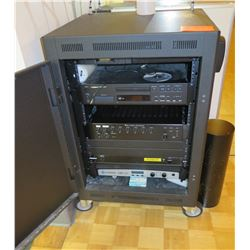 Sound System w/ CDI 1000 Amp, TOA Amp, Tascam CD Player, Furman Power Unit in Rolling Cabinet