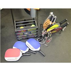 Qty 8 Pickleball Paddles, Balls and Safety Glasses