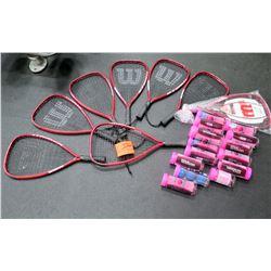 Qty 8 Wilson Rackets & Raquetballs