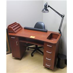 Wooden Workstation with Drawers w/ Lamp & Chair