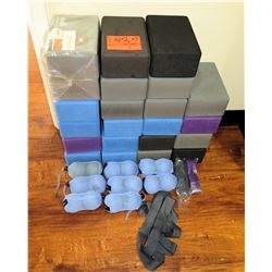 Large Lot of Yoga Foam Blocks and Misc Fitness Equipment