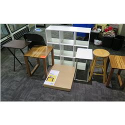 Misc. Furniture: Tables, Shelving, Round Stool, etc.