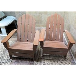 Qty 2 Wooden Adirondack Chairs