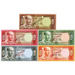 Bank  of Afghanistan. SH1340 (1961). Lot of 5 Specimen Notes.