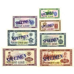Banka e Shetit Shqiptar. 1964. Lot of 7 Specimen Notes.
