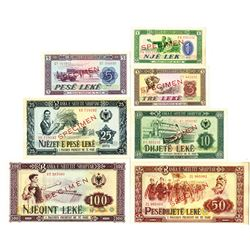 Banka e Shetit Shqiptar. 1976. Lot of 7 Specimen Notes.