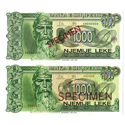 Banka e Shqiperise. 1992-1994. Lot of 2 Specimen Notes.