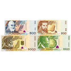 Banka e Shqiperise. 2001. Lot of 4 Specimen Notes.
