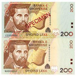 Banka e Shqiperise. 2001-2007. Lot of 2 Specimen Notes.