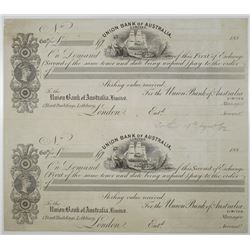Union Bank of Australia Ltd., 1882 Uncut Proof Sheet of 1st and 2nd of Exchanges