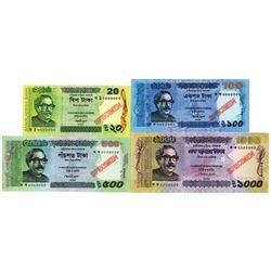 Bangladesh Bank. 2012-2014. Lot of 4 Specimen Notes.